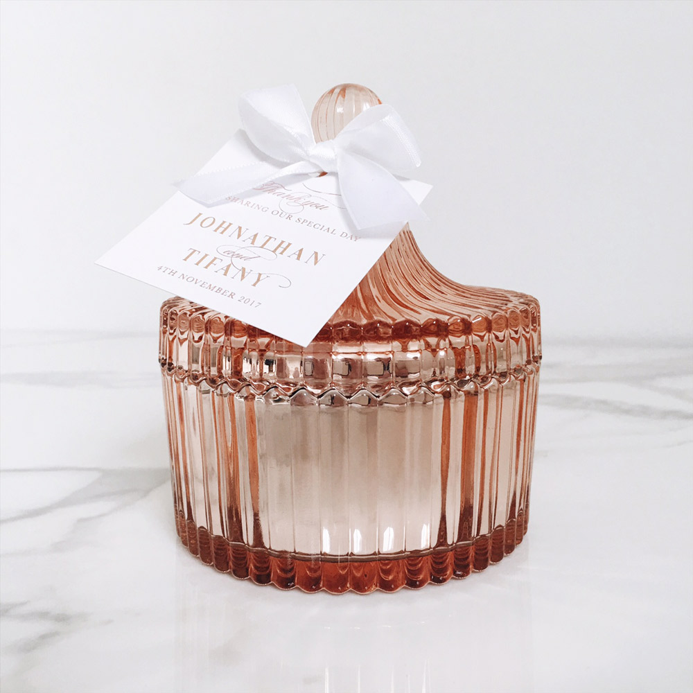 Rose gold candle favour | Wedding favour | Agapi Designs